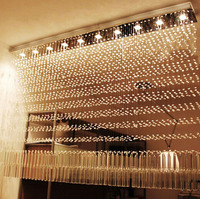 Luxury Bar Counter Crystal Light Partition Light Rectangular Crystal Chandelier Lamps FOR Decorative Living Room Restaurant