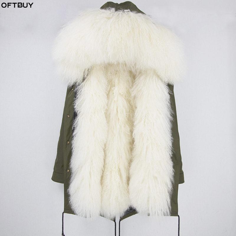 OFTBUY 2019 Long Parka Winter Jacket Women Real Fur Coat Natural Mongolia Sheep Fur Thick Warm Parkas Hood Plus Size Streetwear