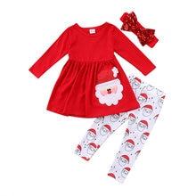 8545efbfc 3 piezas de niño de navidad niños bebé niñas vestido de Santa Claus  imprimir Vestidos pantalones diadema trajes conjunto de ropa