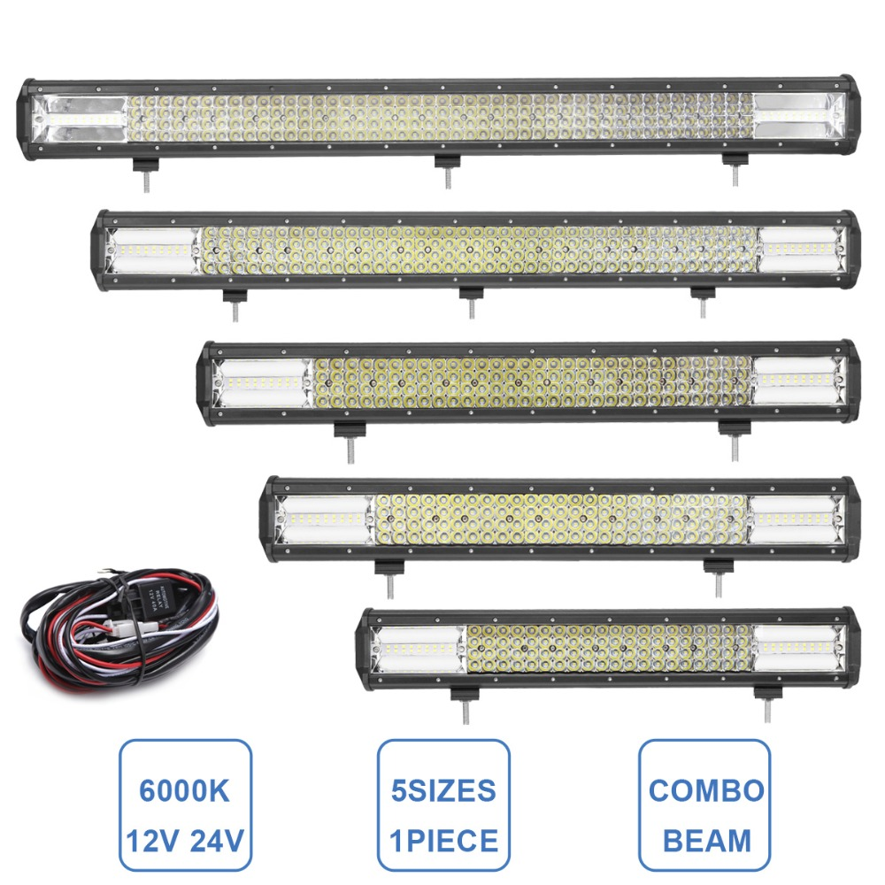OFF ROAD LED WORK LIGHT BAR COMBO 12V 24V CAR 4X4 SUV DRIVING HEADLAMP BOAT CAMPER TRAILER 4WD AWD RZR AUXILIARY LAMP + WIRING