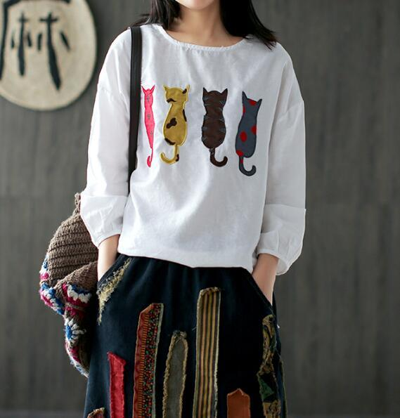 4 small cat patch embroidery long sleeve  shirt top 2017 spring