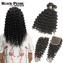 Black Pearl Human Hair Deep Wave Bundles Med Closure Non-Remy Malaysian Hair Bundles With Closure 3 Bundler Med Closure