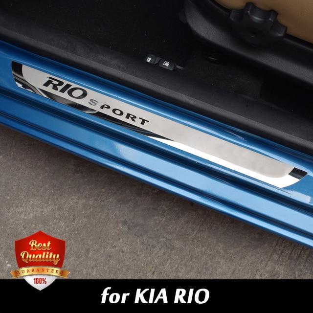 Parrillas de puerta de coche para puerta de acero inoxidable Rio2 Rio3 Placa de rascador de puerta de acero inoxidable para KIA RIO 2010-2019 RIO4