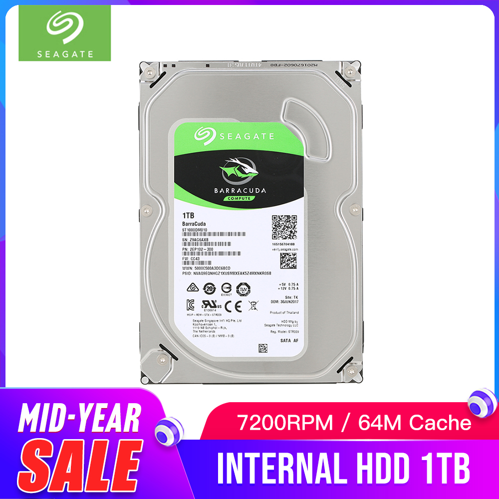 Seagate 1TB Desktop HDD Internal Hard Disk Drive 7200 RPM SATA 6Gb/s 64MB Cache 3.5 HDD Drive Disk For Computer PC ST1000DM010Seagate 1TB Desktop HDD Internal Hard Disk Drive 7200 RPM SATA 6Gb/s 64MB Cache 3.5 HDD Drive Disk For Computer PC ST1000DM010