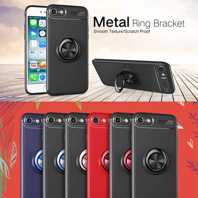 on sale 42f03 b05c2 Magnetic Finger Ring Holder Phone Cases For Iphone 6 6s Case For iphone6s S  luxury silicone Back Cover For apple I phone6 Coque