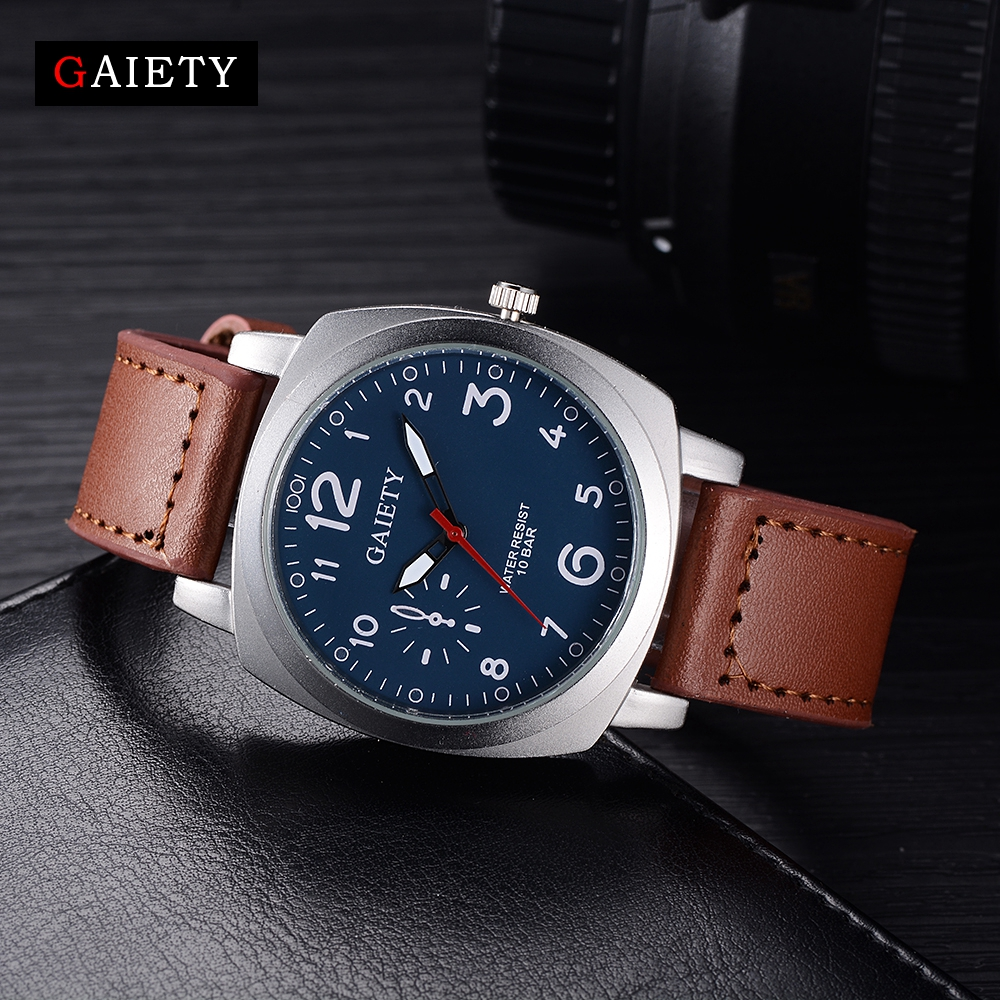 Gaiety Brand Fashion Watch Square Leather Men Male Wristwatch Casual Sport Silver Vintage Quartz Watch G454 gaiety men s casual stripe dial leather band dress watch g538
