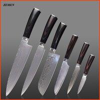 ZEMEN Two Damascus Knives Sets 8 Inch Chef Slicing 7 Inch Santoku 5 5 5 Utility
