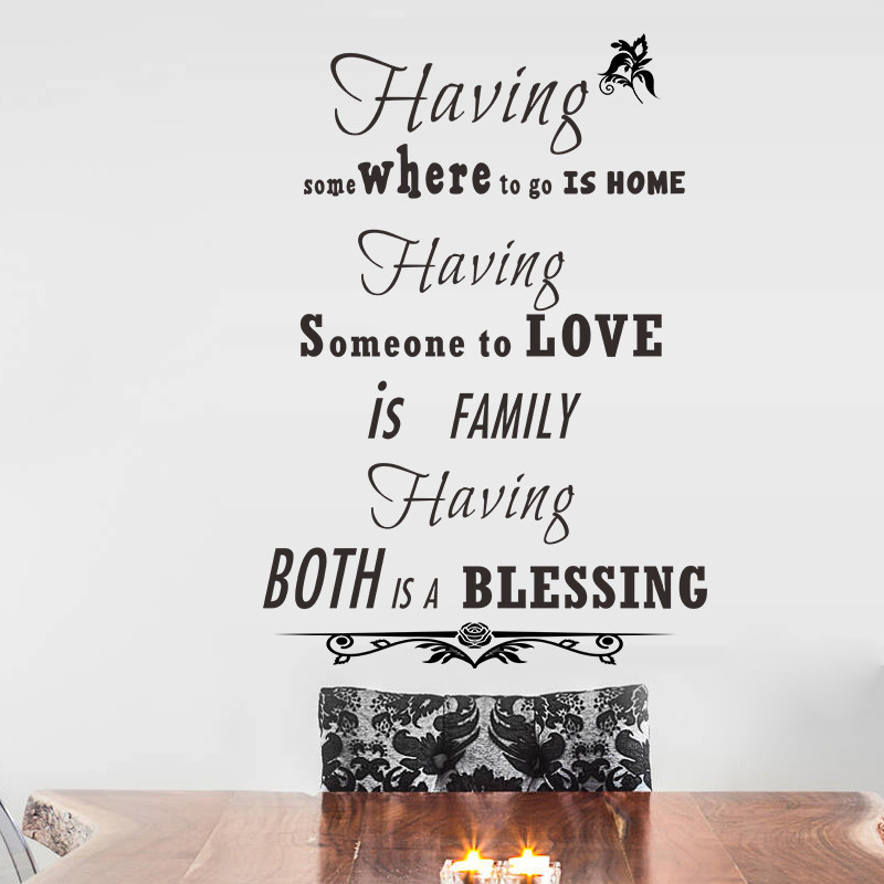 Blessings Home Decor: Family Love Blessing Quotes Home Decor Vinyl Wall Stickers