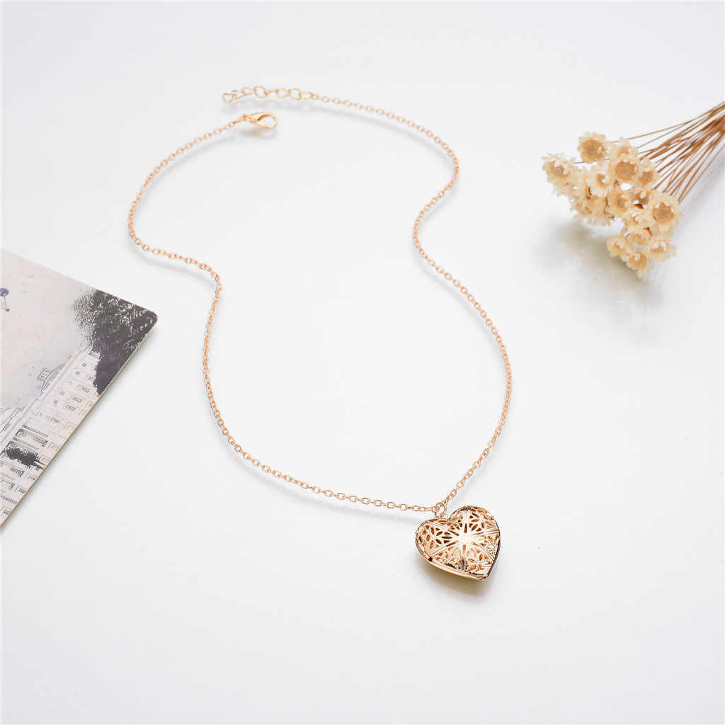 Fashion Heart Necklace Valentine Lover Gift 1 Slot Photo Frame Can Open Locket Pendant Necklace Chain Jewelry For Women 2019