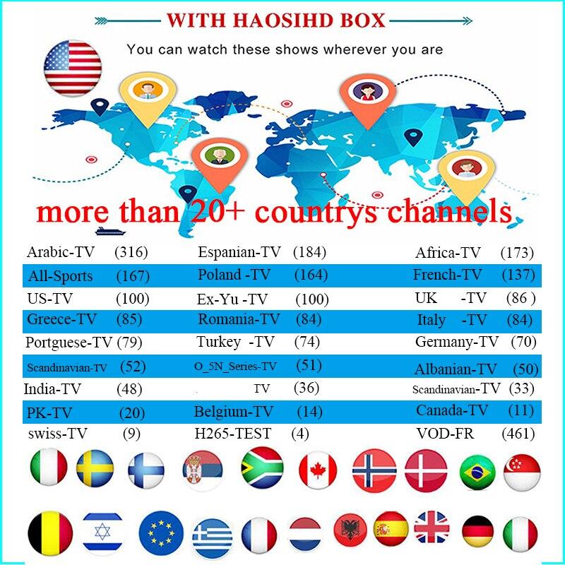 Un an IPTV abonnement iptv arabe France afrique suède espagne australie usa pour android box m3u mag25X tv en direct