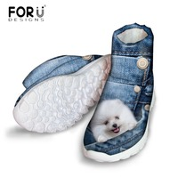 FORUDESIGNS Denim 3D Animal Pomeranian Print Women's Jeans Style Snow Boots Casual High Quality Flats Warm Short Boots for Women