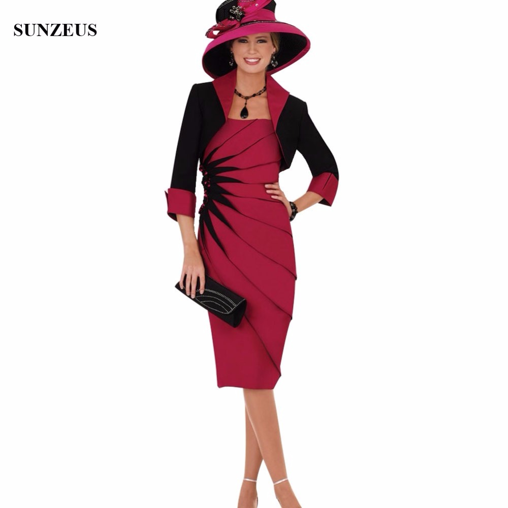 Black and Red Satin Knee Length Mother of the Bride Dresses with Jacket Pleat with Beaded