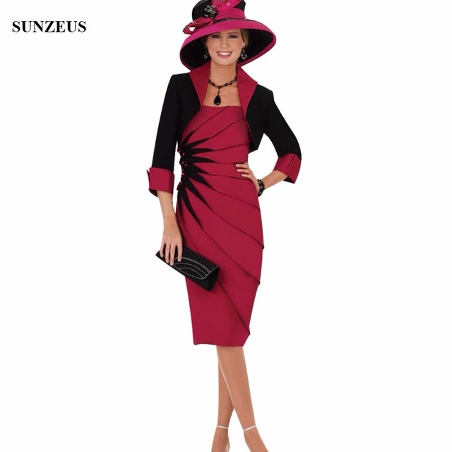 Black and Red Satin Knee-Length Mother of the Bride Dresses with Jacket Pleat with Beaded Attractive Modern Party Dresses S632