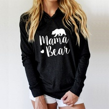 Autumn Hoodies Women Sweatshirts Long Sleeve harajuku Pullovers Hoodie MAMA Heart BEAR Printed Female