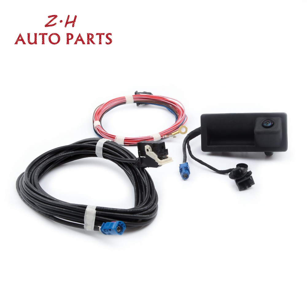 New RGB Rear Image View Camera & Camera Harness Kit 56D 827 566 A For Jetta MK6 Tiguan Passat B7 RNS 510 RCD 510 5M0970161AC цена