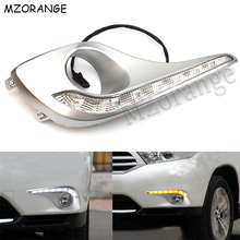LED Daytime Running Light For Toyota Highlander 2012 2013 2014 DRL Daylight With Turn Signal Lamp Waterproof Fog Light Cover sunkia car led drl daytime running light with fog lamp hole for mitsubishi asx 2013 2015 white light amber turn signal