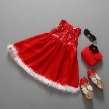 Fashion Sequined Lace Christmas Dress for Baby Girls Kids Christmas Party Red Paillette Tutu Dresses Xmas Gift for Children Girl