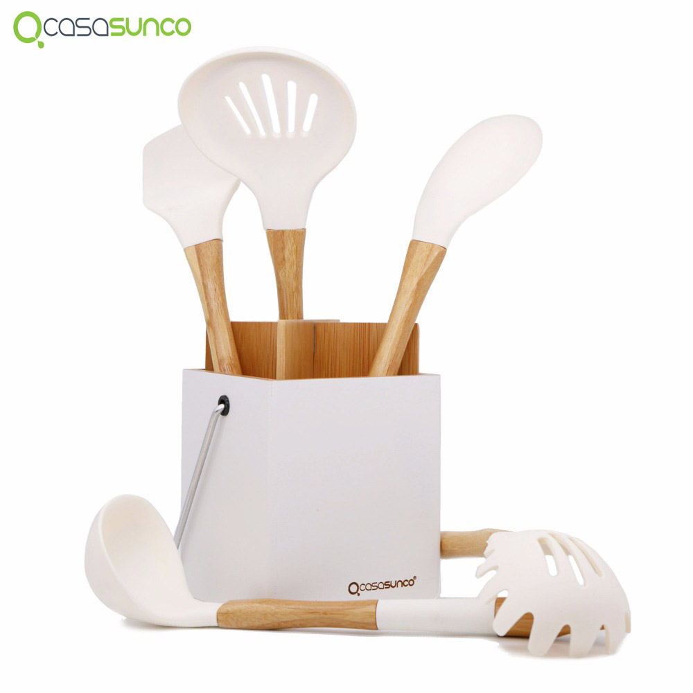 Non Stick Kitchen Set With Price: Silicone Cooking Kitchen Set With Holder Natural Beech
