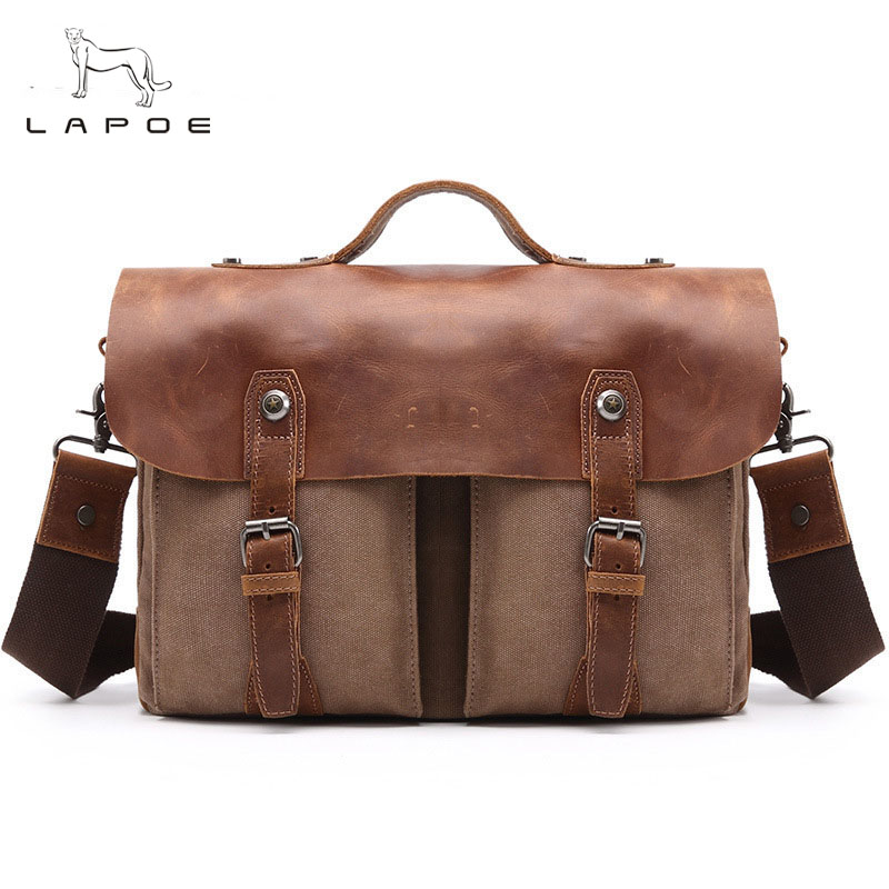 Vintage Handbags New High Quality Waterproof Canvas Crazy Horse Leather Messenger Bag Laptop Shoulder Bags Travel Crossbody Bag augur men s messenger bag multifunction canvas leather crossbody bag men military army vintage large shoulder bag travel bags