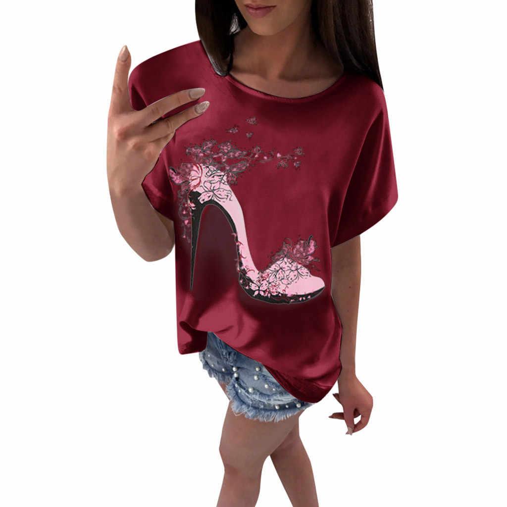 Nieuwste t-shirt vrouwen Korte Mouw Hoge Hakken Gedrukt Strand kleding Casual Losse zomer Top tShirt streetwear #4