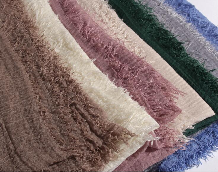 Image 3 - 86 Color Plain Bubble Cotton Crinkle Hijab Scarf Women Wrinkle Wrap Viscose Long Headband Muslim Shawls Scarves 10 PCS/LOT-in Women's Scarves from Apparel Accessories