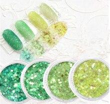 10ml Nail Glitter Mixed 0.2-2mm Acrylic Hexagon Green Series Art Powder Glitters Tip DIY Deco Flakes #MA03