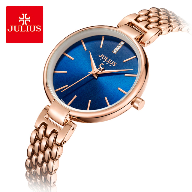 Julius Brand Ladies Bracelet Watch Simple Large Dial Stainless Steel Waterproof