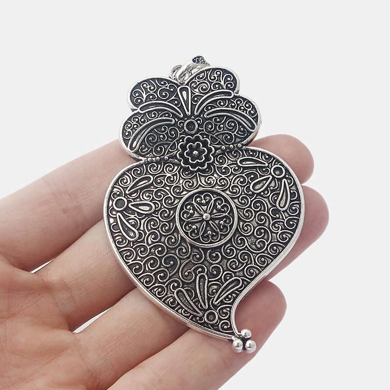 5pcs Antique Silver Large Owl Shape Charms Pendants for Jewellery Making Findings 78x52mm