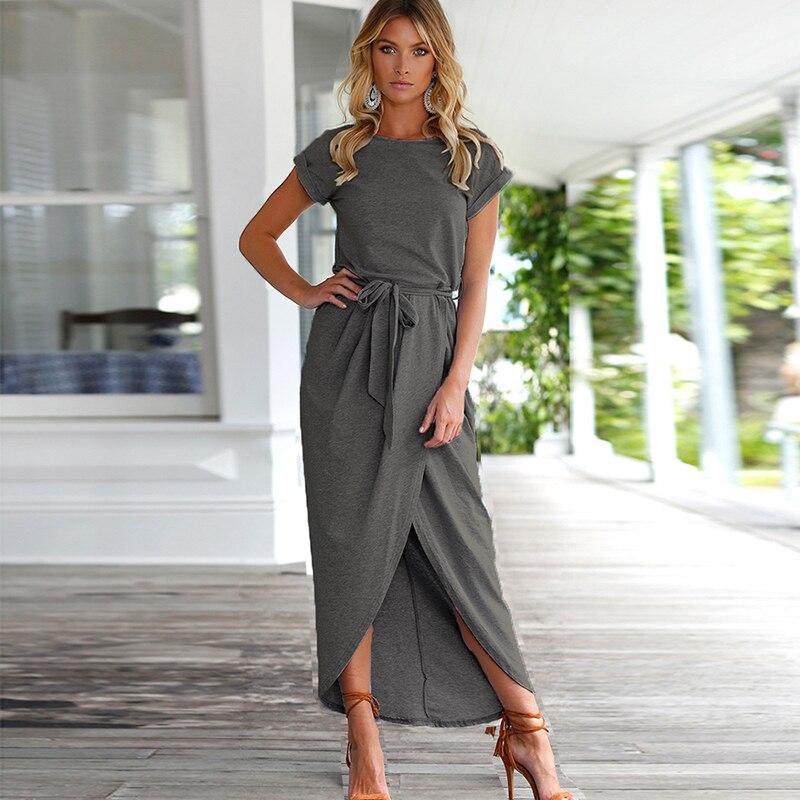 Women O-Neck Maxi Dress Summer Short Sleeve Solid Dress With Belt 4