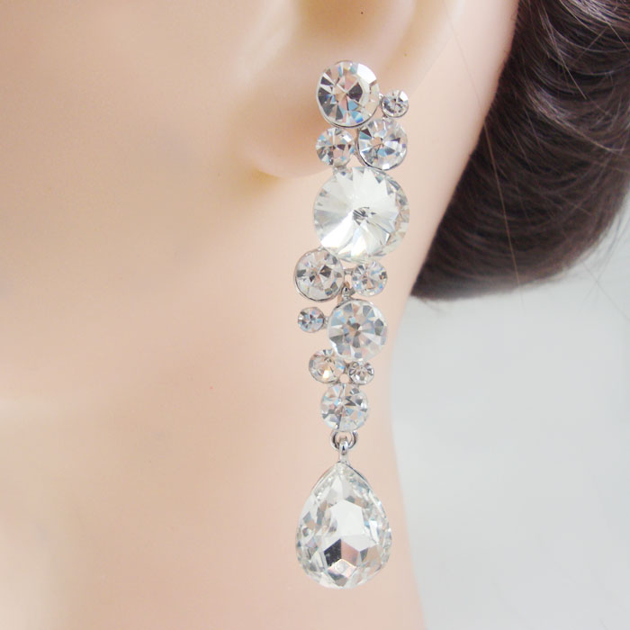 Элегантные Свадебные из австрийского хрусталя Красивые серьги-капли серебряного цвета