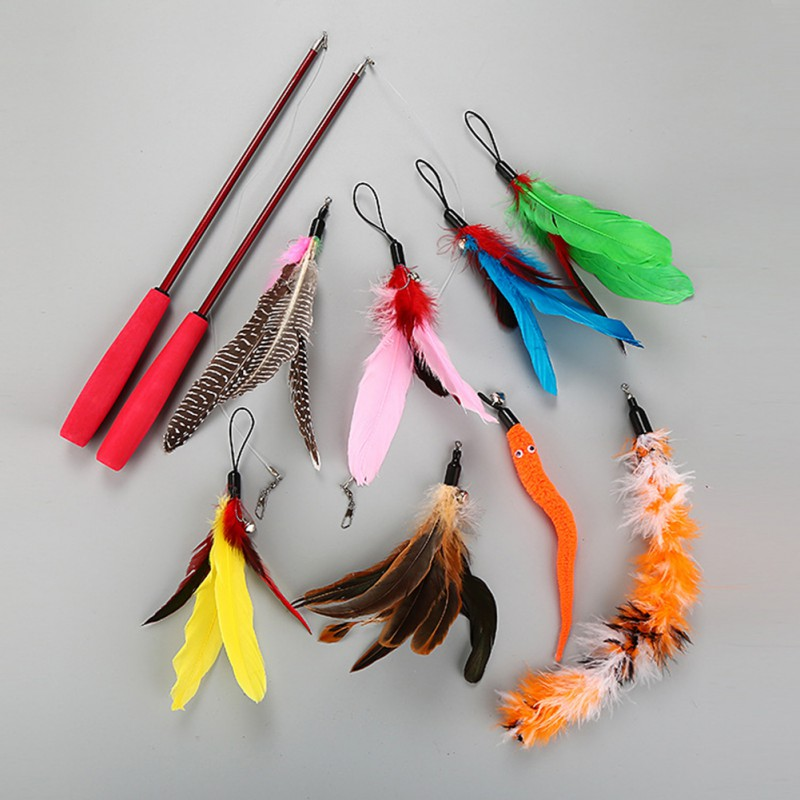 Funny Cat Pet Teaser Feather Wire Chaser Pet Toy Wand Beads Play New 8 replacement heads +2 pole Cat Toys