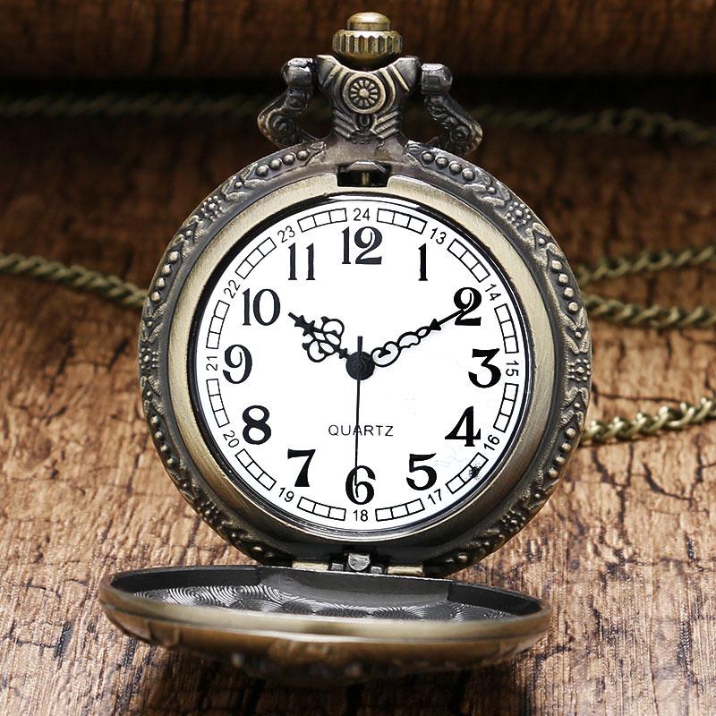 3D Kinesisk Dragon Bronze Quartz Pocket Watch Halskæde vedhæng ur - Lommeur - Foto 3