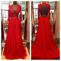 Red Tulle Prom Dress 2016 with Beads Sequins V Neck Long Sleeve Open Back Long Evening Dress Vestido de Noche