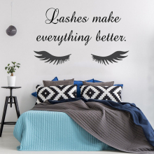 High Quality Eye Eyelashes Lashes Wall Stickers Beauty Salon Quotes Interior Mural Girls Extensions Eyebrows Brows Decals ZW499