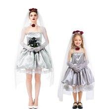 Umorden Bloodless Ghost Zombie Corpse Bride Costume for Women Teen Girls Halloween Dia de los Muertos Day of the Dead Dress