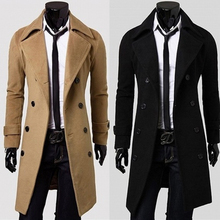 2018 New Geek Mens Wool Coat Jacket Double-breasted Overcoat Long Sleeve Men Winter Slim Solid Male Trench