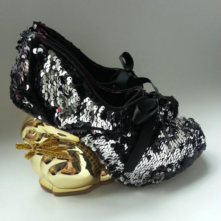 Young ladies chic irregular golden rabbit heel shoes woman lace-up glitter embellished sweet dress shoes woman elegant round toe