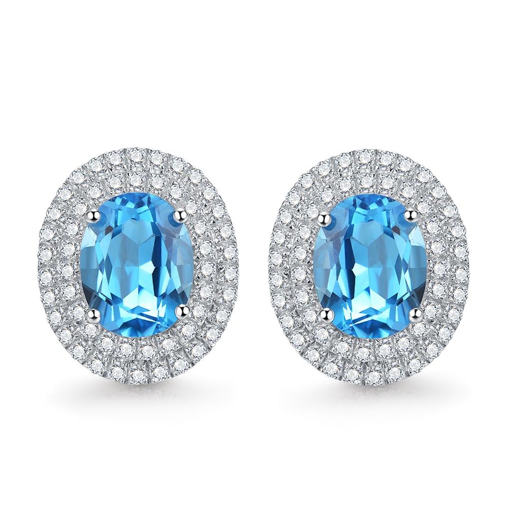 Natural Swiss Blue Topaz Sterling Sliver Zirconia Ovalshaped Stud Earrings