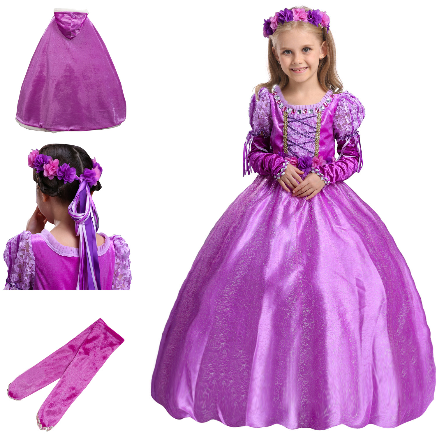 Carnavals Halloween Children Princess Birthday Party Cosplay Winter Girls Cartoon Clothes Rapunzel Fancy Dress Costume Kids 4pcs gothic halloween artificial devil vampire teeth cosplay prop for fancy ball party show
