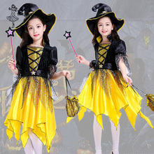 Cosplay-Costume Skirt Dress-Up Halloween Girl for Kids Gift Elf-Set Pumpkin Witch Children