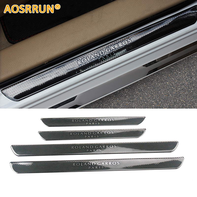 AOSRRUN Carbon Fiber Style Scuff Plate Door Sill Car Accessories For Peugeot 206 208 207 308 508 308 3008 2008 5008