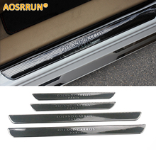 AOSRRUN Carbon Fiber Style Scuff Plate Door Sill Car Accessories For Peugeot 206 208 207 308