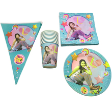 цена на 80PC Soy Luna Theme Plates Cups Baby Shower Decoration Kids Girls Banner Tableware Set Happy Birthday Events Party Flags Napkins
