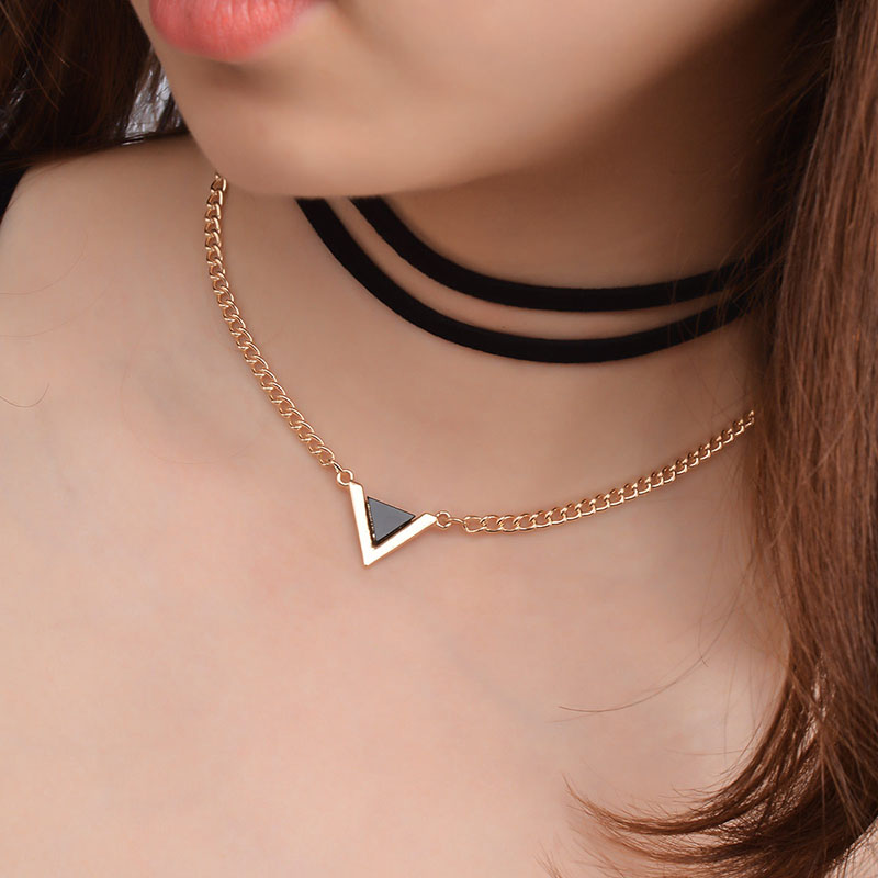 Fashion Multi-layer Necklace Punk Metal Triangle Gem  Jewelry Simple Personality