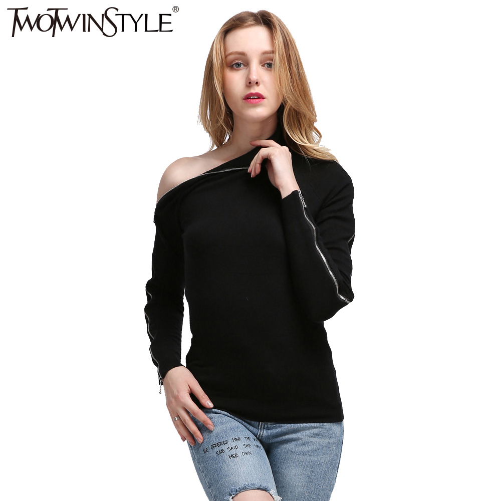 [TWOTWINSTYLE] Spring Zipper Long Sleeves High Collar Off Shoulder Kintted Sweatshirt Women New Streetwear