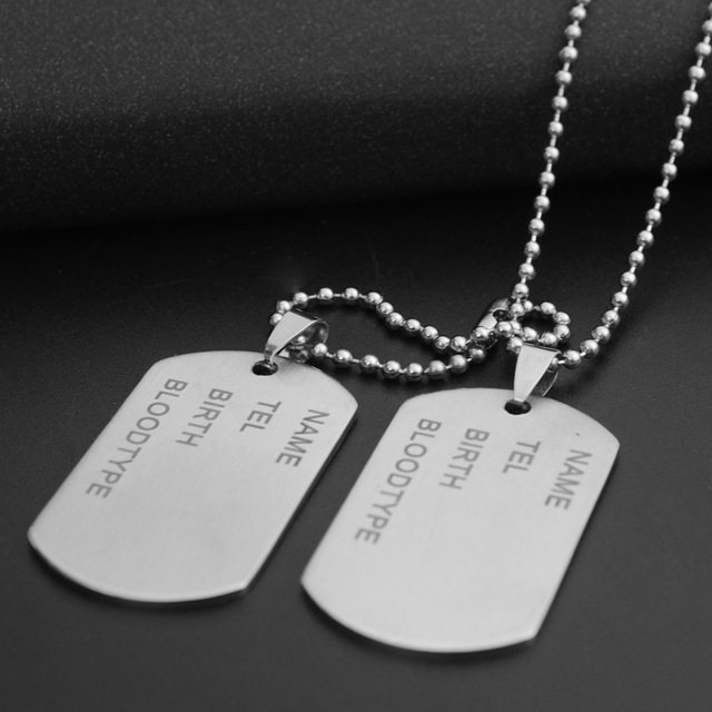 2 pcs brand link chain man necklace military army dog tags men s