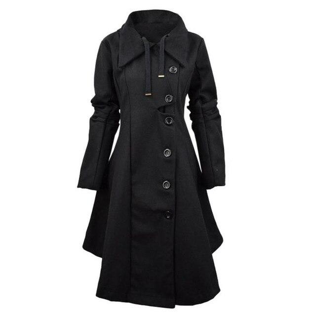 Мода Траншеи Женщин Зимние Куртки И Пиджаки Кнопка Закрытия Асимметричный Хем Плащ Пальто Женщин Abrigos Oc26