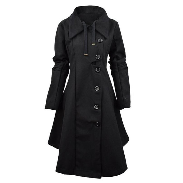 Fashion Trench Women Winter Windbreaker Outwear Button Closure Asymmetrical Hem Cloak Coat Female Abrigos Oc26