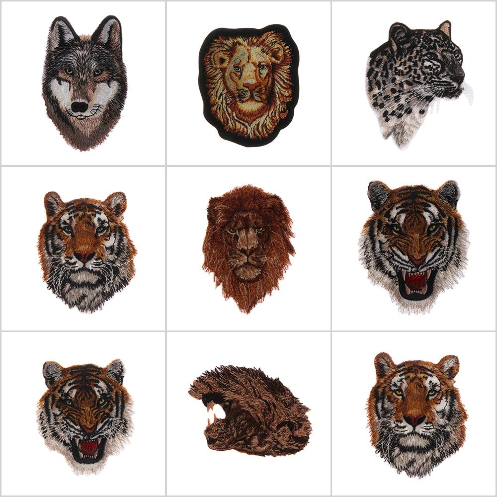 1 Pz Leopard Tiger Leone Lupo Ricamo Iron On Sew On Patch Abbigliamento Applique Fai Da Te Cappello Cappotto Accessori Abito Panno Sticker
