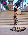 Elegant Evening Dresses Sleeveless Sweetheart Court Train Floor-Length Backless Lace Off the Shoulder Natural Robe de Soiree RSB
